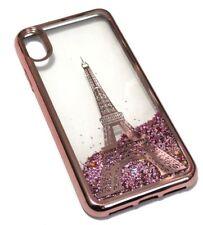 "For iPhone XS MAX 6.5"" - Rose Gold Paris Eiffel Tower Glitter Stars Liquid Case"