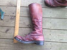 Antique Red Leather Boots, Spat, Paratrooper , Riding , Steampunk, Cats Paw Heel