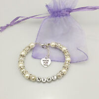Personalised Girl baby Gift Charm Bracelet Daughter Sister made for you white