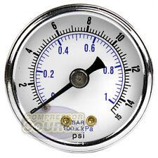 "1/8"" NPT Air Pressure Gauge 0-15 PSI Back Mount 1.5"" Face Diameter"