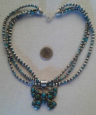 3 Strand Necklace Turquoise Sterling Navajo Emerson Thompson Butterfly Pendant