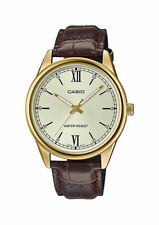 Casio MTP-V005GL-9B Men's Standard Gold Tone Gold Dial Leather Band Dress Watch