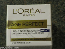L'OREAL AGE PERFECT RE-HYDRATING NIGHT CREAM FOR MATURE SKIN 50ml NEW/BOXED