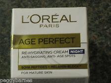 L 'Oreal Edad Re-Hidratante Crema de noche perfecta para la piel madura 50ml Nuevo/en Caja