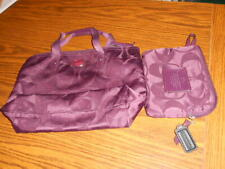 Coach  Foldable Travel Small Tote Bag with Pouch Burgundy-pre-owned