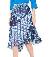 INC Women's Skirt Blue Size Large L A-Line Smock Waist Asymmetrical Hem $79 #736