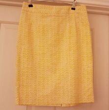 CYNTHIA ROWLEY Ladies Yellow/White pattern pencil skirt knee length size 2 uk 8