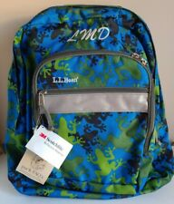 LL BEAN Original Classic REFLECTIVE Backpack Blue Green Frogs Monogrammed LMD