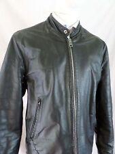 MADE USA vintage black leather café racer motorcycle biker jacket 44
