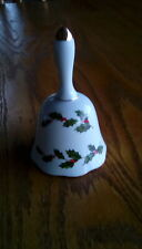 Vintage 1985 Geo Lefton White China Christmas Bell With Holly Leaves Japan
