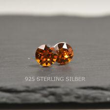 Ohrstecker mit Swarovski® Elements Sterling Silber 925 Chaton 8mm tangerine