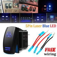 Laser Rocker Switch Blue Zombie Lights Backlit LED ON/OFF 5 Pins 12V-24V 20A Car