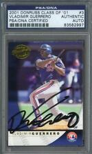 Vladimir Guerrero signed Montreal Expos 2001 Donruss baseball card Psa