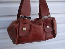 Prune Genuine Leather Large East West Tote Bag Made In Argentina