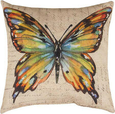 """DECORATIVE PILLOWS - MULTICOLOR BUTTERFLY PILLOW - 18"""" SQUARE - INDOOR OUTDOOR"""