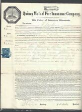 """1870 #R33 Revenue 10c Blue Imperf """"Contract"""" On Document From Quincy See Info"""