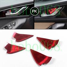 4X Car Auto Stainless Steel RED Inner Door Bowl Frame For 2014-17 Mazda 3 Axela