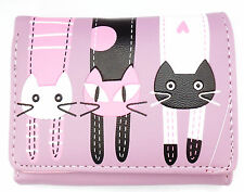 Cat Cartoon Tri fold Purse Faux Leather Clutch Wallet Ladies Girls Womens