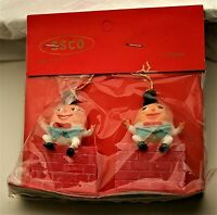 Humpty Dumpty Mini Holiday Christmas Easter Ornament Set of 2 1970's NOS New