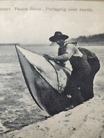 Vintage Postcard, Indian Boatman Peace River Portaging Over Rapids Canada, P65
