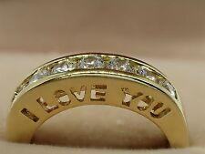 9ct Gold GF Ladies Unique I LOVE YOU Half Eternity Wedding Engagement Band Ring