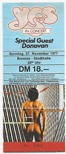 YES       In Concert 1977     Ticket / Konzertkarte / Eintrittskarte
