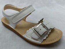 BNIB Clarks Girls Ivy Blossom White Leather Air Spring Sandals F Fitting