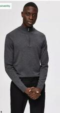 •• Selected Homme Quarter Zip Jumper Mens Grey Melange Size XL