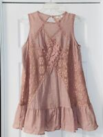 UMGEE ~ Size Medium ~ Dusty Rose Color Sleeveless Dress With Lace Insets