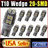 10 PCS T10 20-SMD LED Xenon White Wedge Car Light bulbs W5W 168 194 2825 12V