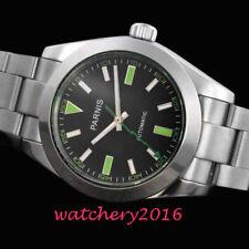 40mm PARNIS Schwarz dial Saphirglas Miyota Automatisch movement Uhr men's Watch