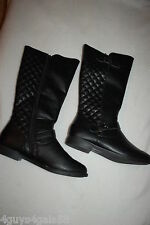 Womens BLACK HIGH CALF BIKER BOOTS Faux Leather QUILTED Buckle Accents SIZE 7