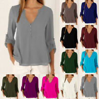 UK Womens Chiffon Long Sleeve T Shirt Buttons Tee OL Ladies Blouse Holiday Tops