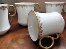 4 + 1 ELEGANT VINTAGE GILDED D&CO DELINIERES LIMOGES WAISTED CUPS SUPERB HANDLES