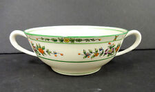 Coxon Belleek China Green Floral Broth Bowl 1927-1931, D 1009 GE Good Condition