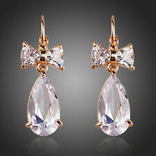 Sparkle Shine Clear White Zircon Stone Bowknot Rose Gold Plated Women Earrings