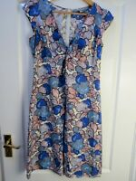 KEW (JIGSAW) Blue Floral 100% Pure SILK Dress Size 10 EXC CON Career Occasion