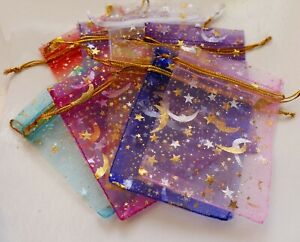 10x Moon Organza Gift Bags for Jewelry Packaging Wedding Favors Christmas 7x9cm