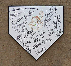 CLEVELAND INDIANS TEAM SIGNED AUTOGRAPHED BASEBALL HOME PLATE COA PROOF