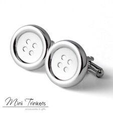 Men's Silver Toned Button Cufflinks Wedding Groom Bestman - With Velvet Pouch