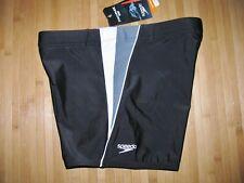 SPEEDO Swimsuit SQUARE LEG Size MEDIUM Nylon Spandex SWIM Suit BLACK Gray NWT
