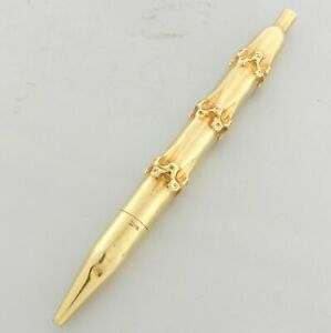 VINTAGE CARTIER 14KT YELLOW GOLD BAMBOO BALL POINT PEN 100% GENUINE 1940'S
