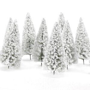 10 Cedar Trees Winter White Snow Model Train Railroad Scenery Landscape 10cm
