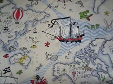 "SANDERSON ""TREASURE MAP"" 2.7 metres world Island map curtain upholstery fabric"