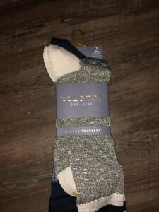 GOLD TOE~Shoe 6-12.5~Men's 2 Pair Lodge Collection Soft Nep Rib Crew Socks