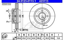 ATE Juego de 2 discos freno Antes 258mm ventilado para FORD FIESTA