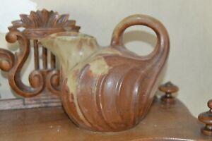 DENBAC VIERZON beau pichet art deco en grés flammé forme melon vers 1930