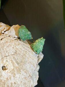 Green Raw Crystal Stud Earrings Gold Stone Emerald Studs May Birthstone Earr