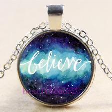 Nebula Believe Photo Cabochon Glass Tibet Silver Chain Pendant Necklace#CM14