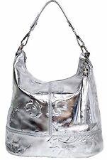 ITALY Handtasche Ledertasche Damentasche Schultertasche echt Leder Tasche silber